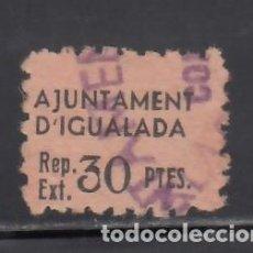 Sellos: AJUNTAMENT D´IGUALADA. BARCELONA. CUPÓN 30 PTS. Lote 243053330