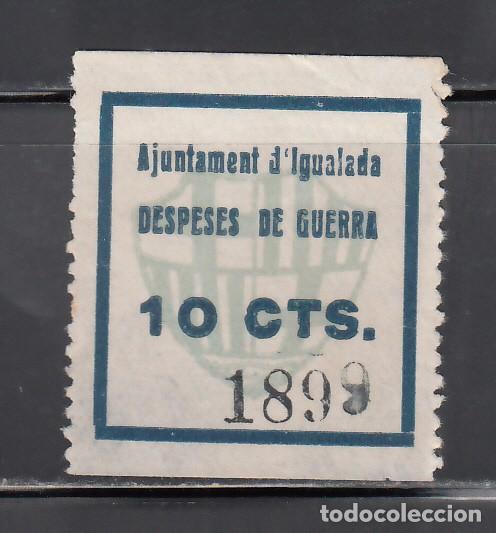 AJUNTAMENT D´IGUALADA. BARCELONA. DESPESES DE GUERRA. 10 C AZUL. (AL.39.) (Sellos - España - Guerra Civil - Viñetas - Nuevos)