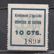 Sellos: AJUNTAMENT D´IGUALADA. BARCELONA. DESPESES DE GUERRA. 10 C AZUL. (AL.39.). Lote 243057975