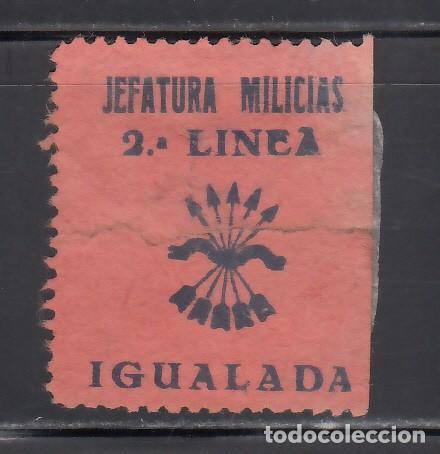 JEFATURA MILICIANAS. 2º LINEA. IGUALADA. BARCELONA. (AL.1.) (Sellos - España - Guerra Civil - Viñetas - Nuevos)