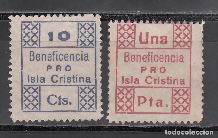 BENEFICENCIA. PRO. ISLA CRISTINA, HUELVA, 10 C. AZUL, 1 P. CARMÍN. (AL.18,21.) (Sellos - España - Guerra Civil - Viñetas - Nuevos)
