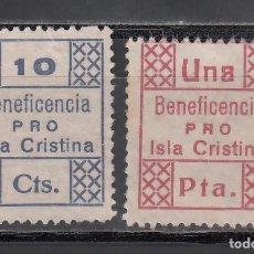 Sellos: BENEFICENCIA. PRO. ISLA CRISTINA, HUELVA, 10 C. AZUL, 1 P. CARMÍN. (AL.18,21.). Lote 243070140