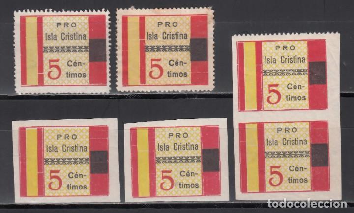 PRO. ISLA CRISTINA, HUELVA, DISTINTOS TIPOS, DENTADOS Y SIN DENTAR (Sellos - España - Guerra Civil - Viñetas - Nuevos)