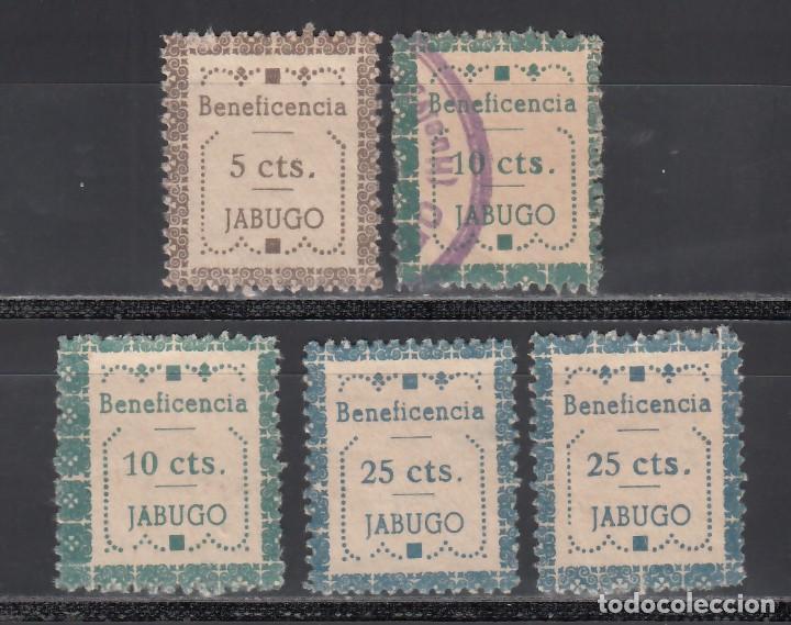 BENEFICENCIA. JABUGO. HUELVA, 5 C. CASTAÑO, 10 C. VERDE, 25 C. AZUL. DISTINTOS TIPOS Y VALORES (Sellos - España - Guerra Civil - Viñetas - Nuevos)