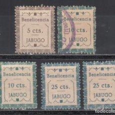 Sellos: BENEFICENCIA. JABUGO. HUELVA, 5 C. CASTAÑO, 10 C. VERDE, 25 C. AZUL. DISTINTOS TIPOS Y VALORES. Lote 243132460