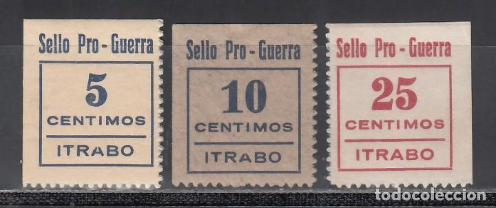 SELLO PRO-GUERRA. ÍTRABO. GRANADA. 5 C. AZUL. 10 C. AZUL. 25 C. CARMÍN. (AL.1,2,3,.) (Sellos - España - Guerra Civil - Viñetas - Nuevos)