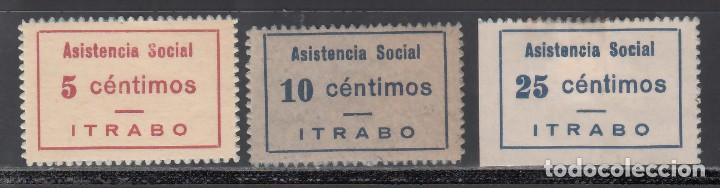 SELLO PRO-GUERRA. ÍTRABO. GRANADA. 5 C ROJO. 10 C. AZUL. 25 C. AZUL. (AL. 4,5,6.) (Sellos - España - Guerra Civil - Viñetas - Nuevos)