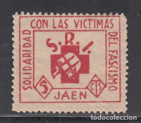 SOLIDARIDAD CON LAS VÍCTIMAS DEL FASCISMO. JAÉN. 5 C. ROJO (AL.1) (Sellos - España - Guerra Civil - Viñetas - Nuevos)