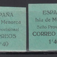 Sellos: SELLOS PROVISIONALES, MENORCA, BALEARES. 1939 EDIFIL Nº 1 / 2 /**/. Lote 243241060