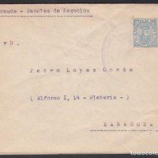 Sellos: ZARAGOZA, CARTA CIRCULADA CON SELLO DE IMPUESTO DE GUERRA DE 1874, MARCA COMANDANCIA MILITAR.. Lote 243252995
