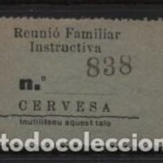 Sellos: REUNIO FAMILIAR INSTRUCTIVA, CONSUMACIO, CERVESA- VER FOTO. Lote 243278425