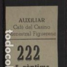 Sellos: AUXILIAR CAFE DEL CASINO.- MENESTRAL FIGUERENC. 5 CTS,- VER FOTO. Lote 243279220