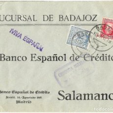 Sellos: 1937 CARTA CENSURA MÉRIDA BADAJOZ GUERRA CIVIL. SELLO ISABEL + VIÑETA PARO OBRERO - SIN DENTAR-. Lote 243519510