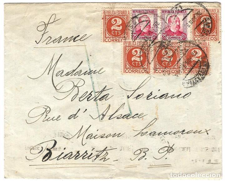 1939 (JUL) SAN SEBASTIÁN A FRANCIA CARTA SELLOS REPÚBLICA. CENSURA NACIONAL GUERRA CIVIL (Sellos - España - Guerra Civil - De 1.936 a 1.939 - Cartas)