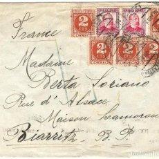 Sellos: 1939 (JUL) SAN SEBASTIÁN A FRANCIA CARTA SELLOS REPÚBLICA. CENSURA NACIONAL GUERRA CIVIL. Lote 243639225