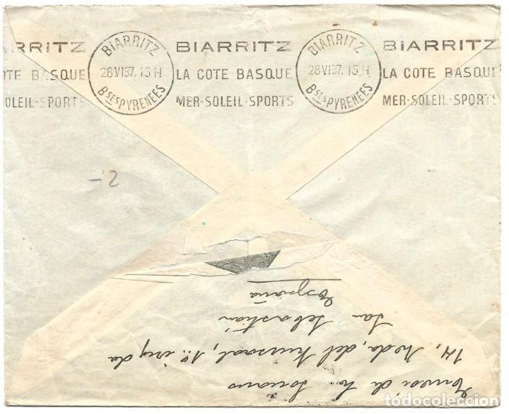 Sellos: 1939 (JUL) SAN SEBASTIÁN A FRANCIA CARTA SELLOS REPÚBLICA. CENSURA NACIONAL GUERRA CIVIL - Foto 2 - 243639225
