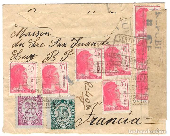 1939 (6 ENE) CARTA CERTIFICADO MADRID A FRANCIA. REPÚBLICA. CENSURA GUERRA CIVIL (Sellos - España - Guerra Civil - De 1.936 a 1.939 - Cartas)