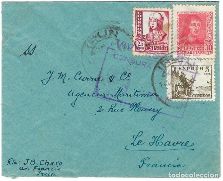 1939 CA CARTA IRÚN A FRANCIA CARTA. CENSURA NACIONAL GUERRA CIVIL (Sellos - España - Guerra Civil - De 1.936 a 1.939 - Cartas)