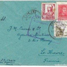 Sellos: 1939 CA CARTA IRÚN A FRANCIA CARTA. CENSURA NACIONAL GUERRA CIVIL. Lote 243646010