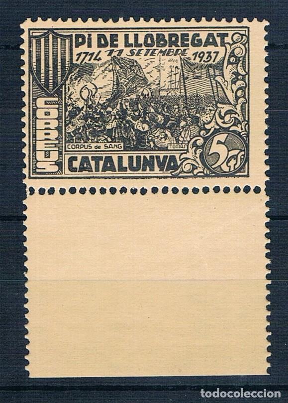 ESPAÑA 1937 PI DE LLOBREGAT FESOFI 1 DENTADO BORDE HOJA MNH** (Sellos - España - Guerra Civil - Locales - Nuevos)