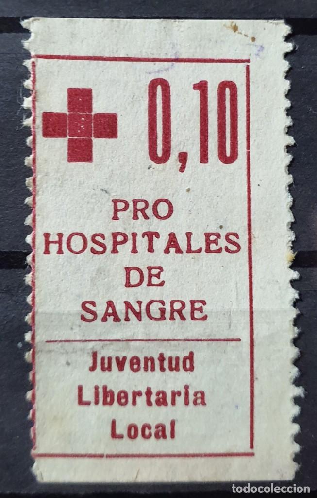 GUERRA CIVIL. JUVENTUD LIBERTARIA - PRO HOSPITALES DE SANGRE AFINET 795 RARA (Sellos - España - Guerra Civil - Viñetas - Usados)