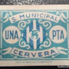 Sellos: CERVERA (LÉRIDA). EDIFIL 10 *. 1 PTA AZUL S. MUNICIPAL. Lote 244555435