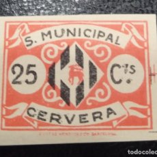 Sellos: CERVERA (LÉRIDA). EDIFIL 6 *. 25 CTS ROJO ANARANJADO Y NEGO S. MUNICIPAL.. Lote 244558865