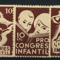 Sellos: ESPAÑA GUERRA CIVIL. PRO CONGRES INFANTIL. SERIE MARRÓN. (EDIFIL 574-603) 5 VALORES.. Lote 244572000