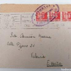 Sellos: CARTA REMITIDA A VALENCIA DESDE FRANCIA. DIC. 1936. GUERRA CIVIL. CONTROL OFICIAL COMUNICACIONES. Lote 244637765