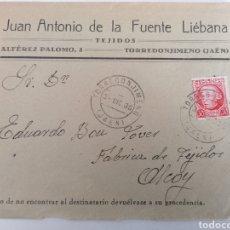 Sellos: TORREDONJIMENO. JAÉN. JUAN ANTONIO DE LA FUENTE LIEBANA. CARTA A ALCOY. DIC. 1936. GUERRA CIVIL. Lote 244638160