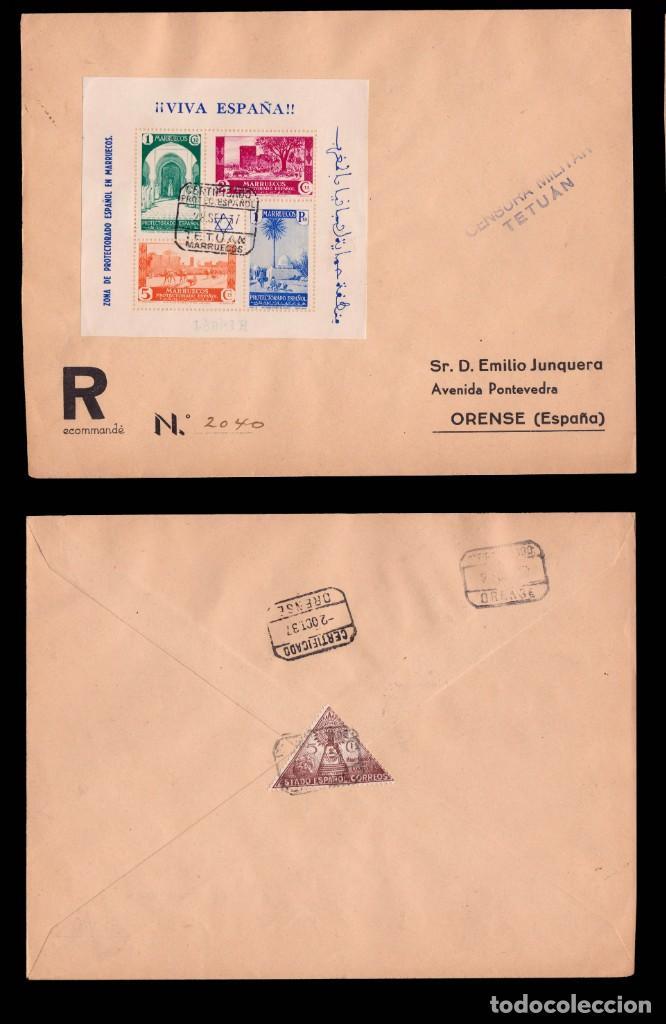 Sellos: MARRUECOS 1937.Tipos en Hojitas sobre cartas.Edifil.167-168 - Foto 2 - 244643500