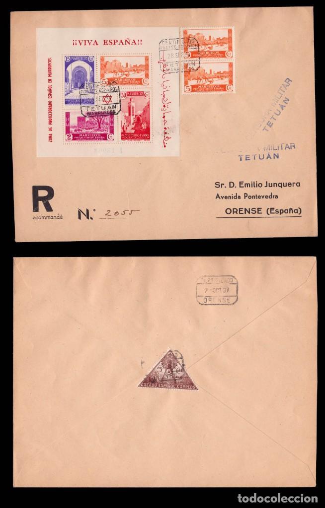 Sellos: MARRUECOS 1937.Tipos en Hojitas sobre cartas.Edifil.167-168 - Foto 3 - 244643500