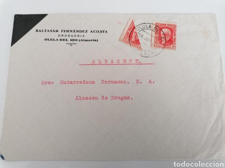 OLULA DEL RÍO. ALMERÍA. DROGUERÍA. CARTA A ALBACETE. JUN 1937?. BONITO BISECTADO (Sellos - España - Guerra Civil - De 1.936 a 1.939 - Cartas)