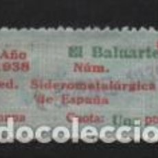 Sellos: U.G.T. 1 PTA,. FED. SIDEROMETALURGICA, AÑO 1938 UTILIZADO PARA 1939,- VER FOTO. Lote 244673950