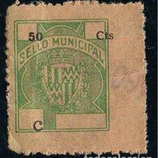 Francobolli: 0901. SELLO VIÑETA MUNICIPAL BADALONA (BARCELONA) 50 CTS, LETRA C, LOCAL IMPUESTO º. Lote 244981615