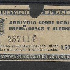 Sellos: AYUNTAMIENTO DE MADRID ARBITRIO SOBRE BEBIDAS ESPIRITUOSAS Y ALCOHOLES 1.60 PTS. Lote 245046705