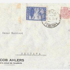 Sellos: 1937 CARTA GUERRA CIVIL TENERIFE. FRANQUEO SELLO 5 CENT. ISLAS CANARIAS + 50C ESPECIAL MÓVIL. Lote 245066150