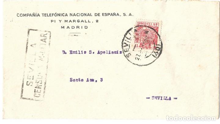 1937 CARTA GUERRA CIVIL SEVILLA. CENSURA MILITAR. FRANQUEO 15C ESPECIAL MÓVIL (Sellos - España - Guerra Civil - De 1.936 a 1.939 - Cartas)