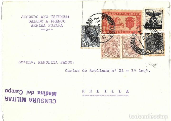 1937 CARTA FRONTAL GUERRA CIVIL MEDINA DEL CAMPO VALLADOLID CENSURA MILITAR ESPECIAL MÓVIL AUXILIO (Sellos - España - Guerra Civil - De 1.936 a 1.939 - Cartas)