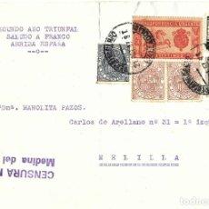 Sellos: 1937 CARTA FRONTAL GUERRA CIVIL MEDINA DEL CAMPO VALLADOLID CENSURA MILITAR ESPECIAL MÓVIL AUXILIO. Lote 245074980