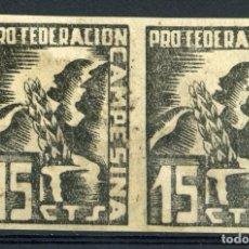 Sellos: ESPAÑA GUERRA CIVIL. PCE - PARTIDO COMUNISTA. EDIFIL 76S EN PAREJA. 1 SELLO CON CORTE. Lote 245183830