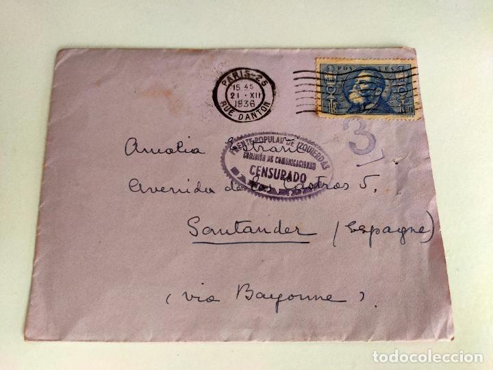 SOBRE DE CARTA PARIS SANTANDER, CENSURADO FRENTE POPULAR DE IZQUIERDAS SANTANDER 1936 (Sellos - España - Guerra Civil - De 1.936 a 1.939 - Cartas)