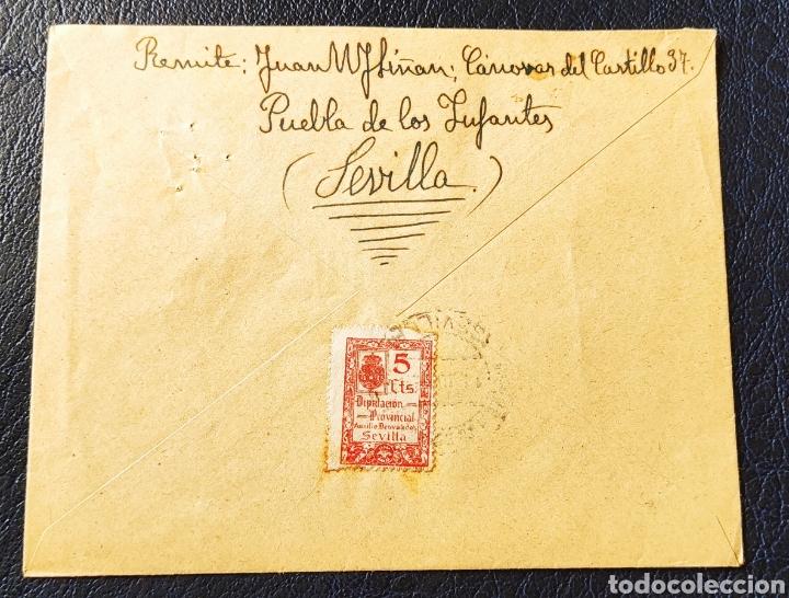 Sellos: Guerra civil carta con viñeta diputación provincial auxilio desvalidos Sevilla 1939 - Foto 2 - 245295065