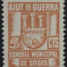 Sellos: VIÑETA GUERRA CIVIL SITGES. 5 CTS CONSELL MUNICIPAL AJUT DE GUERRA MH *. Lote 245285855