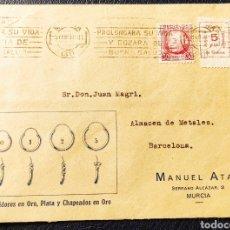 Sellos: GUERRA CIVIL CARTA COMERCIAL CON VIÑETA COLONIAS INFANTILES DE GUERRA MURCIA 1937. Lote 245296625