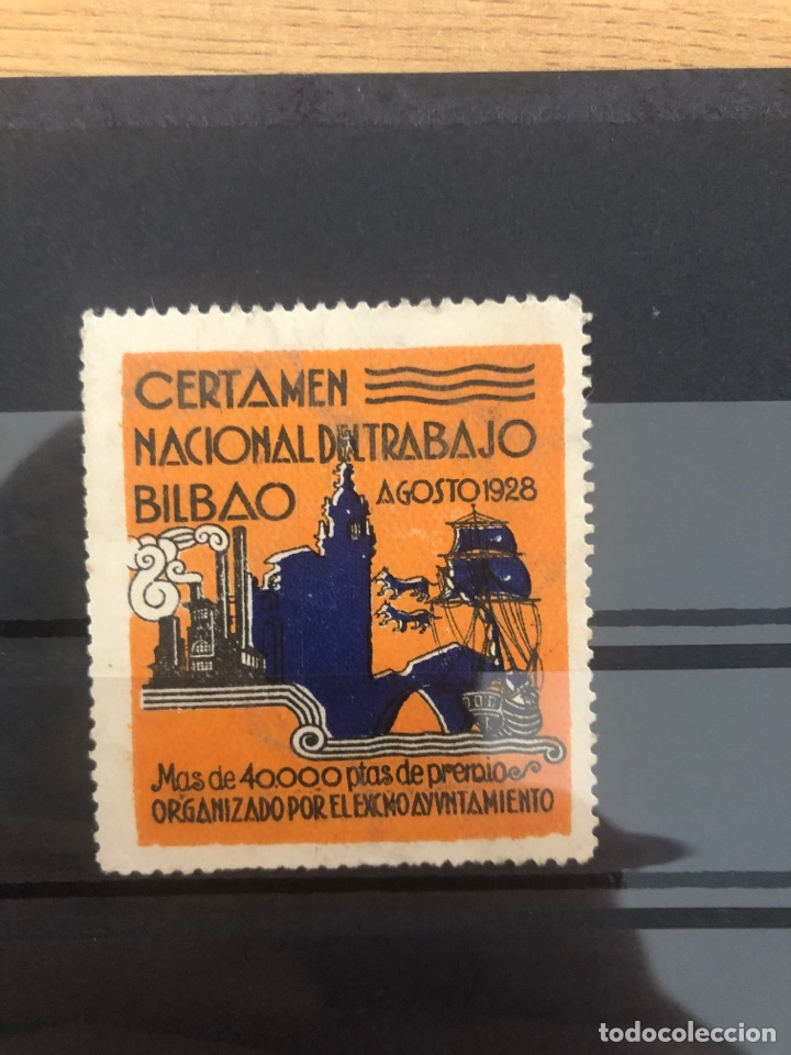 VIÑETA CERTAMEN NACIONAL TRABAJO BILBAO 1928 (Sellos - España - Guerra Civil - Viñetas - Usados)