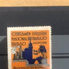 Sellos: VIÑETA CERTAMEN NACIONAL TRABAJO BILBAO 1928. Lote 245354890