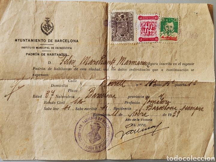 GUERRA CIVIL DOCUMENTO PADRÓN COMO CON VIÑETA AUXILIO SOCIAL BARCELONA 1939 (Sellos - España - Guerra Civil - Viñetas - Nuevos)