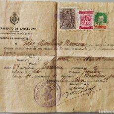 Sellos: GUERRA CIVIL DOCUMENTO PADRÓN COMO CON VIÑETA AUXILIO SOCIAL BARCELONA 1939. Lote 245390500
