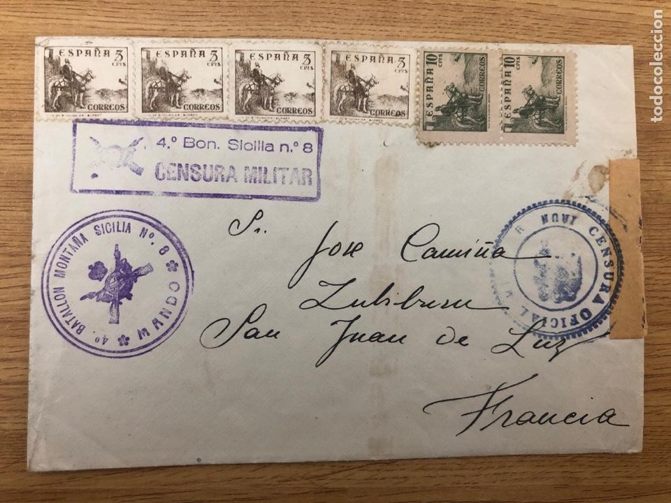 1939 MAYO. BATALLÓN MONTAÑA SICILIA 8 CENSURA Y MARCA. LLEGADA (Sellos - España - Guerra Civil - De 1.936 a 1.939 - Cartas)